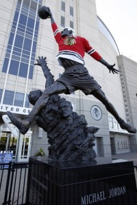 Blackhawks jersey on Michael Jordan statue outside of the United Center.