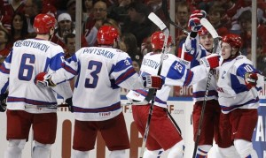 Members of Team Russia celebrate a goal during the gold-medal game against Canada.